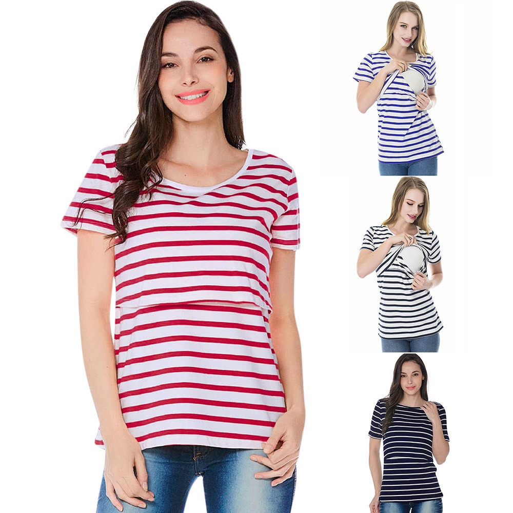 Striped Layered Nursing Tee