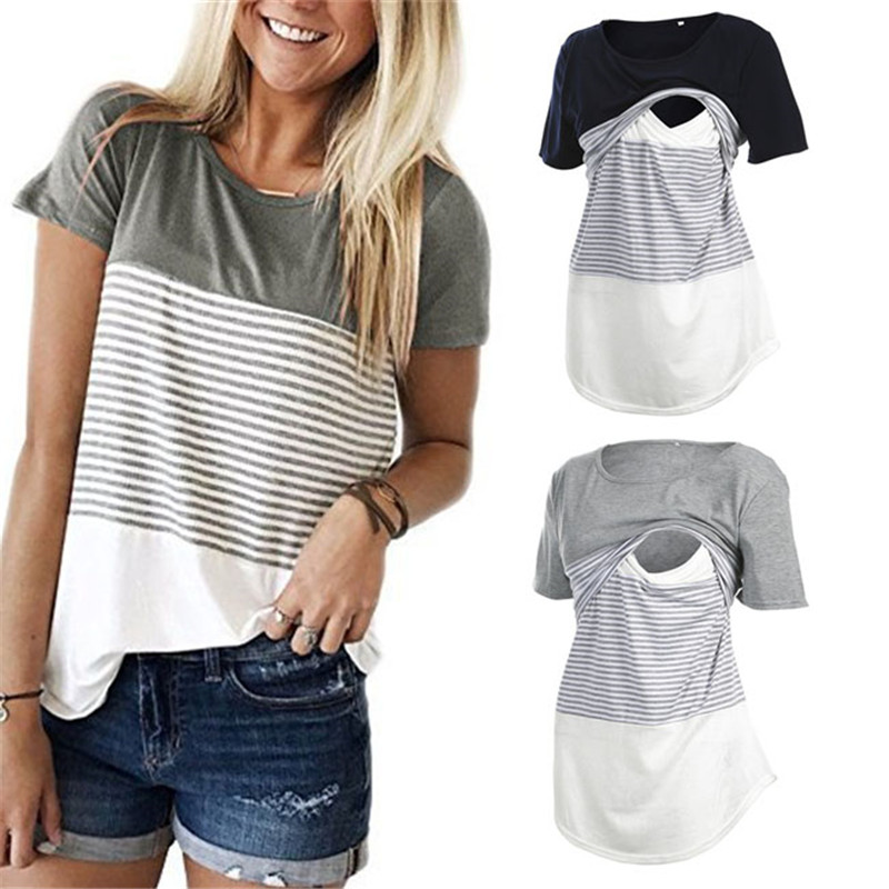 Striped Relaxed-Fit Nursing Tee
